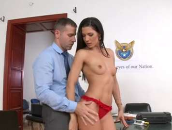 Horny secretary gets naked and fucks with the boss