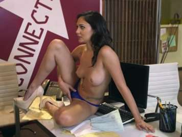 Very horny secretary seduces the boss on the table
