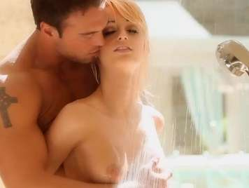 Shower beautiful blonde gets horny and wants sex