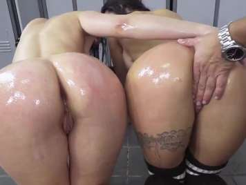 Big ass of two beautiful athlete girls ride a threesome