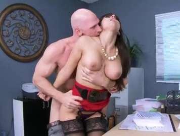 Horny secretary masturbates and is caught by the boss