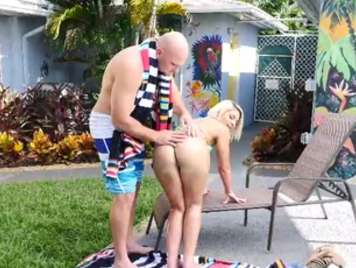 Fucking with her neighbor in the private pool