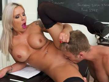 Open-legged teacher seduces a student