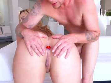 Blonde dilates with a dildo to get him hard