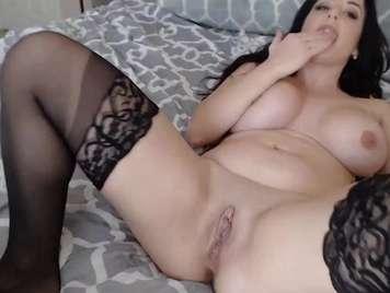 Masturbation with a big dildo opening her ass