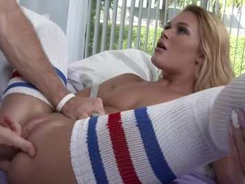 Socks blonde with shaved pussy enjoy sex