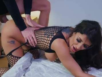 Black lingerie of a beautiful brunette with facial cumshot