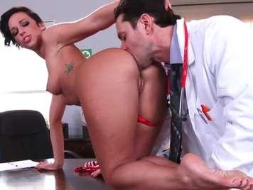 Doctor examines his patient deeply