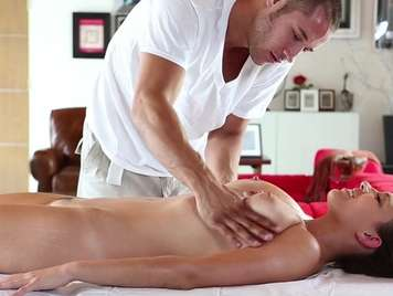 Massage a brunette with perfect body