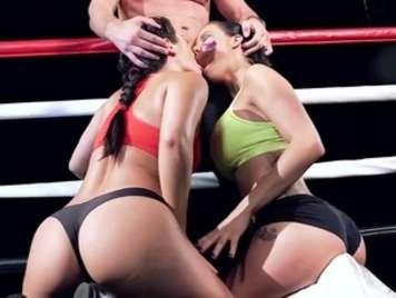 Fucking in a boxing ring threeway big ass