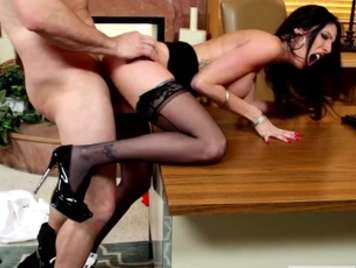 Slutty secretary in lingerie fucking on the table