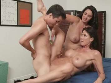 Mature bitches share a big cock
