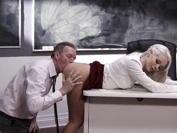 Teacher eats a student's ass on the desk