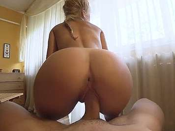 Hard butt of a blonde fucking on all fours