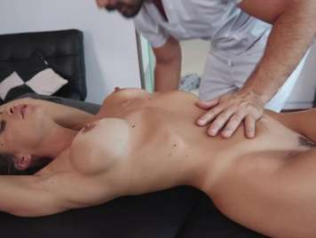 Massage to a beautiful young girl with big tits