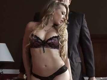 Sensual blonde in panties seduces her man xxx