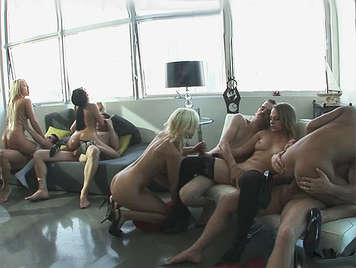 Five horny bitches in a completely flooded by mega orgy cumshots