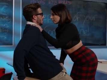 Teacher seduces a nerdy student and fucks him