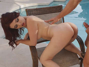 Argentina poolside fucking doggy style cumshot on her slutty mouth