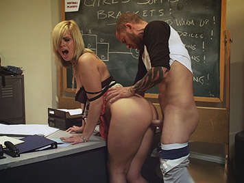 Sweet blonde student fucking gym teacher in his office