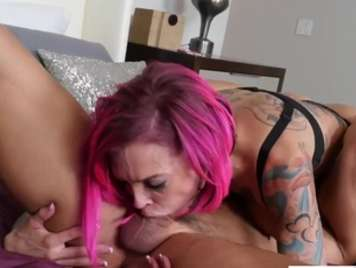 Tattooed with large breasts will fill pussy milk