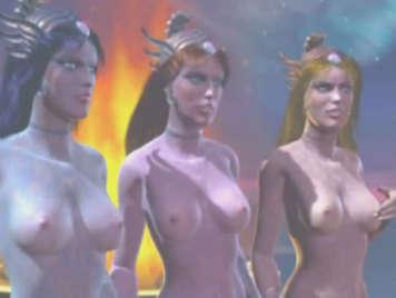 3D hentai fantasy with three humanoids girls