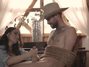 X Spoof cowboy is tied by his girl and fucks