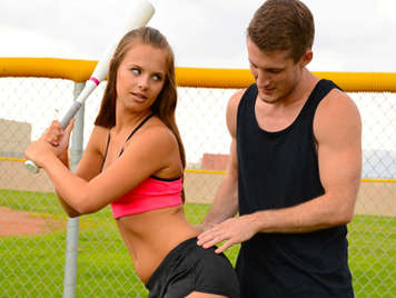 Jillian Janson takes baseball classes