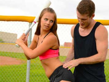 Jillian Janson takes baseball classes