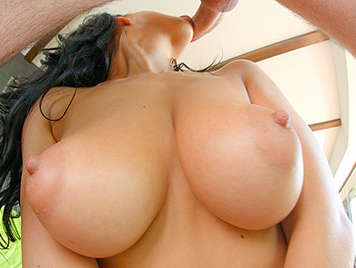 Perfect breasts brunette sucking cock fucking tits covered with sperm