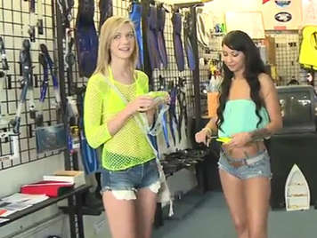 Two girls with shorts