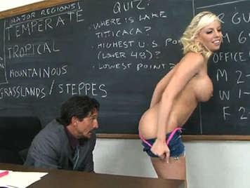 Blonde student fucks teacher