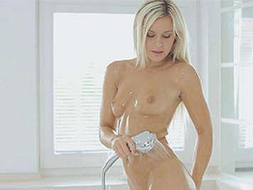 In a sensual shower