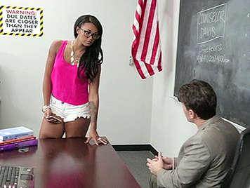 Harley Dean talks to the teacher
