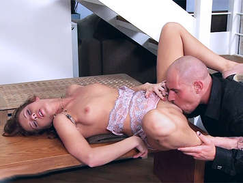 Zuzana Z. sweet girl, in her first porn scene with sexy lingerie fucked wildly letting it com in her wet pussy