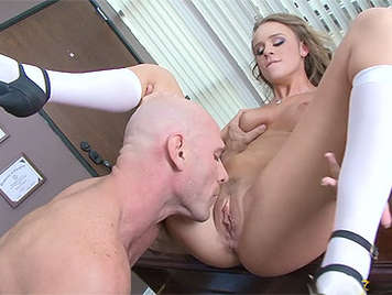 The shaved pussy sucking a buxom blonde schoolgirl
