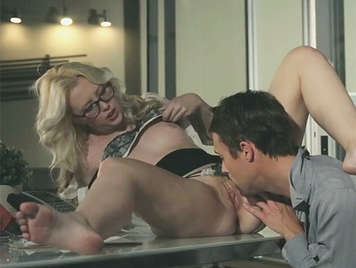 Secretary blonde with glasses and a beautiful ass, fucking with the boss