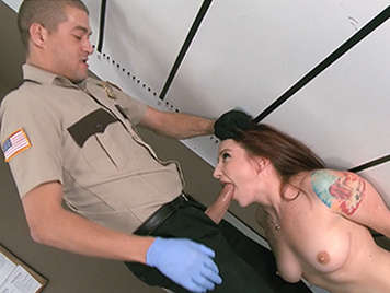 Redhead forced to have sex with a police officer