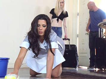 Foreign brunette maid is a slut
