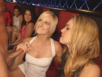 Two blondes fucking wild in a bachelorette party