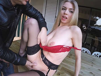 Russian girl with natural big tits fucked outdoors