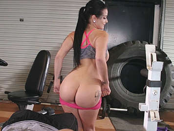 Natural brunette with perfect body fucking in the gym