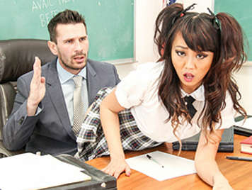 Asian schoolgirl slut fucks her teacher