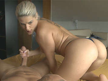 A blonde Czech girl with perfect ass making a spectacular straw