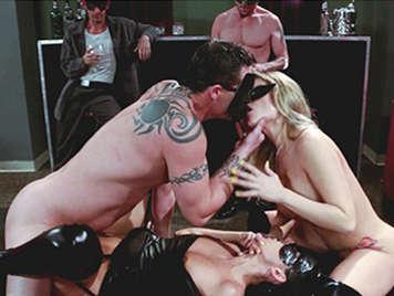 Sexual orgy between strangers masks