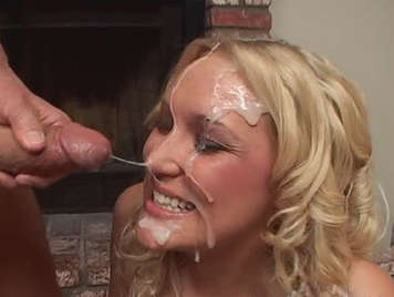 Blonde sucking a cock stuffed with saporoust semen that explodes in her face