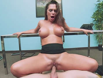 Fucking her busty personal secretary sperm filling her mouth