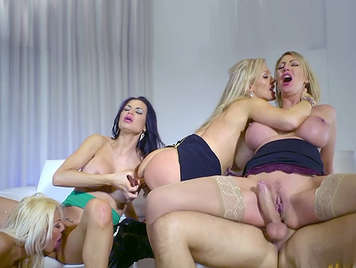 Orgy with four busty secretaries vicious hungry for hard cock suck pussy and cums in their mouths open and full of lust