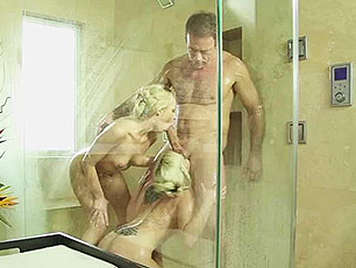 Rocco with two busty blondes in the shower