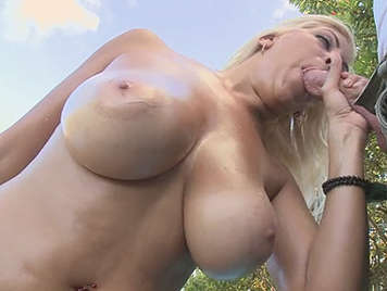 Blonde Latina girl with big tits fucking and sucking cock